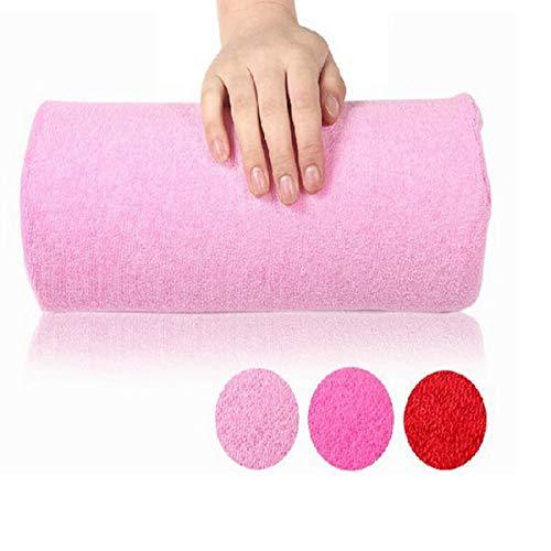 Greatangle Almohada de manicura Soporte para Reposo de Manos Almohadas Cojín Almohada para uñas Herramienta de Toalla para Brazo Reposabrazos Equipo de manicura para Arte de uñas Rosa