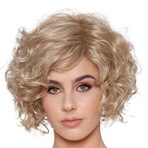 FBGood Femmes Perruque Courte Bouclée - Nouvelle Perruque Synthétique de Haute Qualité-Épais Joli à la Mode - Au Milieu Bouclée Naturel (30cm)
