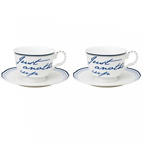 Molly Marais - 2er Set Tassen mit Untertassen COPENHAGEN Text - weiß, blauer Schriftzug