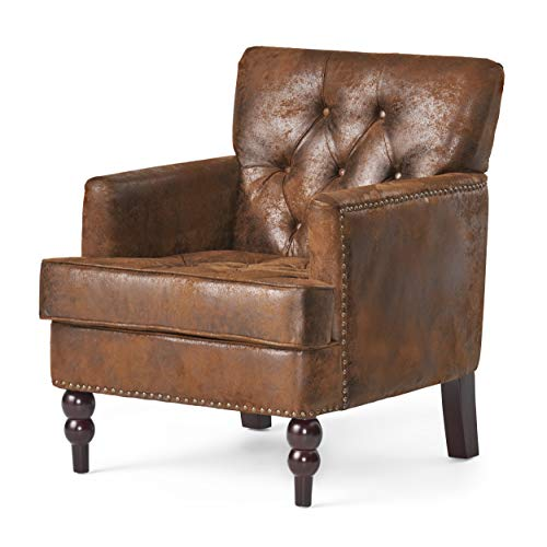 Madene Brown Fabric Club Chair