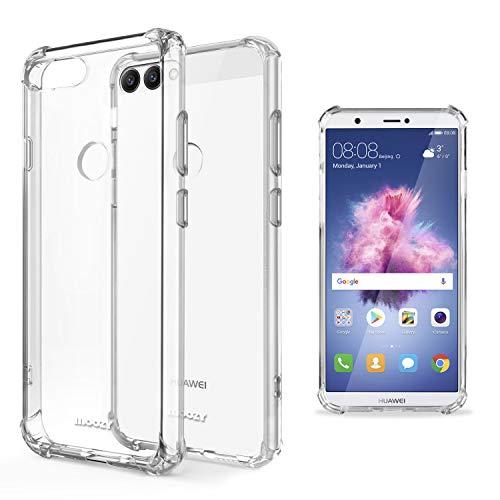 Moozy Coque Silicone Transparente pour Huawei P Smart - Anti Choc Crystal Clear Case Cover Étui de Flexible Souple TPU