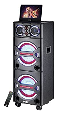 Pyle PKRK215 Bluetooth PA Loudspeaker Karaoke Entertainment Audio & Video System, Wireless Mic