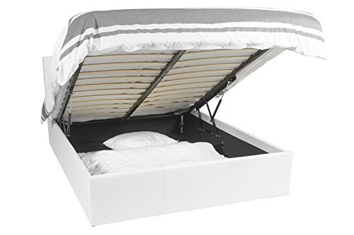 Luna Ottoman | Bed met 665liter opbergruimte | 140 x 190 | Wit | Afneembaar hoofdbord