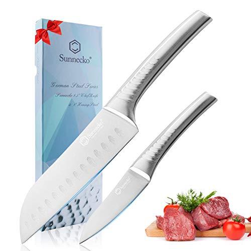 Sunnecko Kitchen Knife Set, 6.5 Inch Santoku Knife Japanese + 3.5 Inch Paring Knife, Razor Sharp Knife for Meat & Vegetables -German High Carbon Stainless Steel & Ergonomic Non-Slip Hollow Handles
