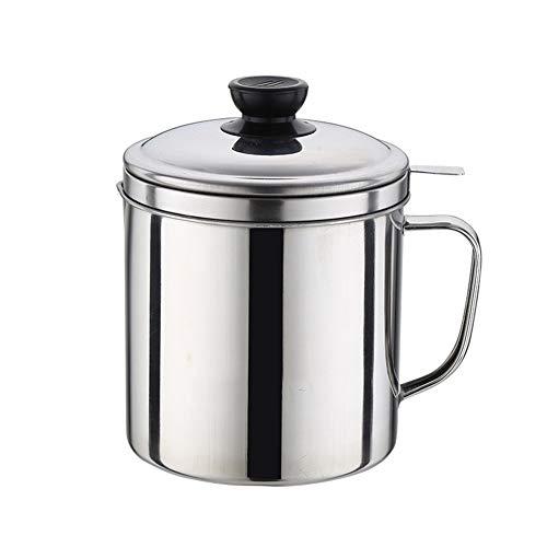 SUREH Fettsieb und Behälter aus Edelstahl, 1,8 l, Ölsieb, Ölbehälter, Fettbehälter, mit feinem Sieb, ideal für die Küche