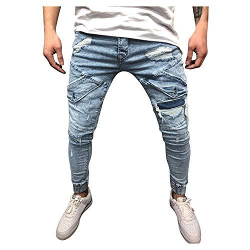 TANGTANGYI Homme Grande Taille ÉLastique Jeans Taille Haute Loisir Straight Pantalon Slim en Denim Stretch en DéChiré Et (S, Blue-B)
