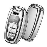 OATSBASF Autoschlüssel Hülle Geeignet für Audi,Schlüsselhülle Cover Case für A4 A5 A6 A7 Q5 Q7 Q8 RS SQ Seat 3-Tasten Keyless Schlüsselbox (Silber)