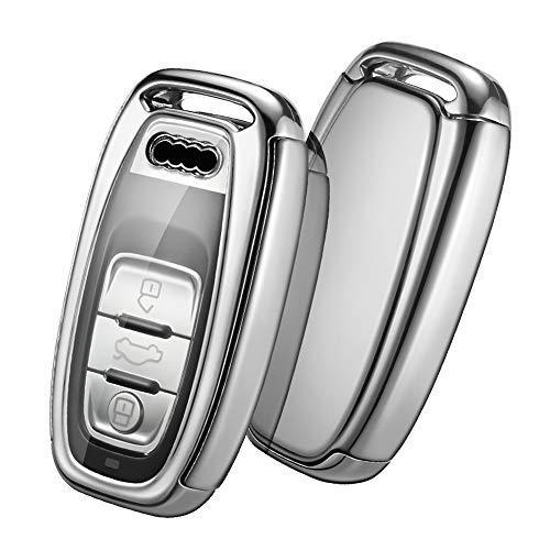 OATSBASF Autoschlüssel Hülle Geeignet für Audi,Schlüsselhülle Cover Hülle für Kein Zündschloss Keyless Autos A4 A5 A6 A7 Q5 Q7 Q8 RS SQ Schlüsselbox (Silber)