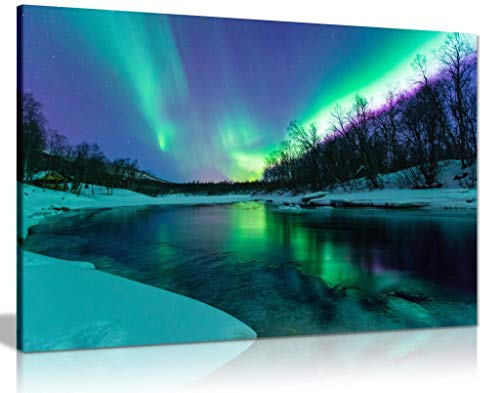 Panther Print, Canvas Wall Art, Winter River Northern Lights Aurora Borealis, Living Room, and Bedroom Framed Art, Quality Picture for Walls, Nature Design, Prints for Special Occasions (18x12in)