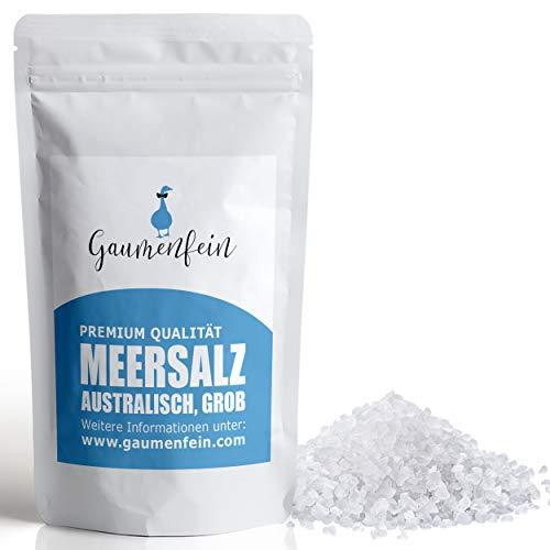 GAUMENFEIN® Meersalz Grob Australisch - bekannt als Mühlensalz, Steaksalz - für Salzmühle - 100% natürliche Premium Qualität - 500g