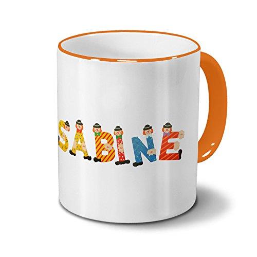 printplanet Tasse mit Namen Sabine - Motiv Holzbuchstaben - Namenstasse, Kaffeebecher, Mug, Becher, Kaffeetasse - Farbe Orange