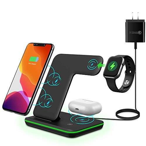 MiromTec/Upgraded/Qi All Wireless Charging Stand, Station for Apple Watch 6 5 4 3 2, Airpods, iPhone All Qi Enabled Phones (with QC 3.0 Adapter)