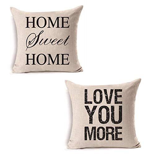 decorbox Home Sweet Home Love You More in Simple Words inspirerande citat dekorativ handgjord prydnadskudde fodral med osynlig dragkedja vävd bomull linne för vardagsrum 45 x 45 cm 2-pack