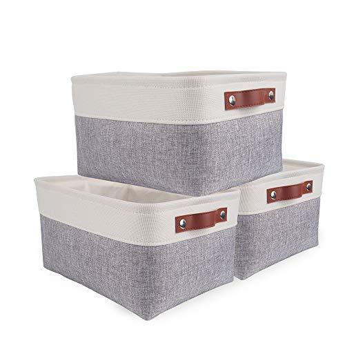 SOCOHOME 3Pcs Caja de Almacenaje, Cestas de Almacenaje Tela, Plegable Cajas organizadoras para Armarios, Ropa, Juguetes y mas (Medio, Blanco Gris)