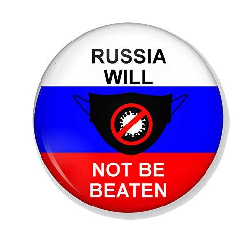 Gifts & Gadgets Co. Kühlschrankmagnet Russische Flagge Will Not Be Beaten By Coronavirus, Metall, rund, bedruckt