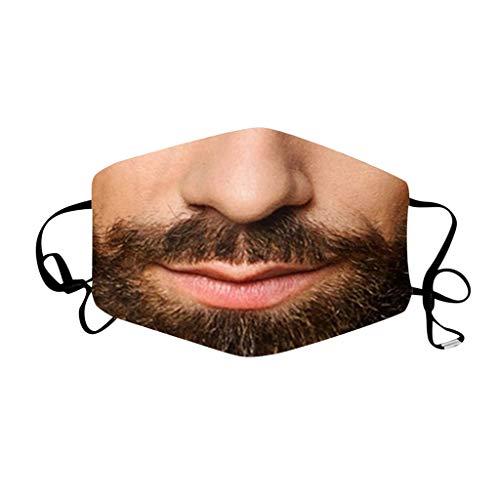 Lomelomme Lustig Mundschutz Bandanas Waschbar 3D Motiv Staubdicht Mund und Nasenschutz Wiederverwendbare Atmungsaktiv Halstuch (F-R, One size)
