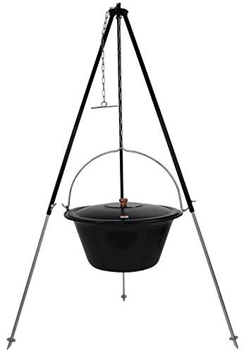 Grillplanet® ungarisches Dreibein 1,80m und original 30 L Gulaschkessel mit Deckel/Gulasch Topf Kessel emailliert für offenes Feuer