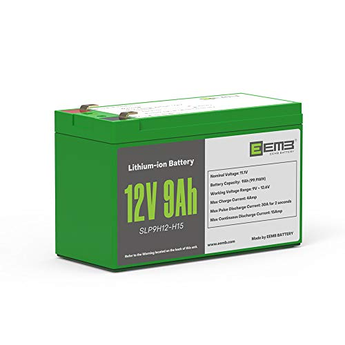 EEMB 12V 9AH Lithium-ion Rechargeable Battery Deep Cycle Replace SLA Lead Acid Battery | Built-in BMS | 1-Year Warranty | Perfect for Kayak, Fish Finder, RV, Solar, Marine, Off-Grid Applications