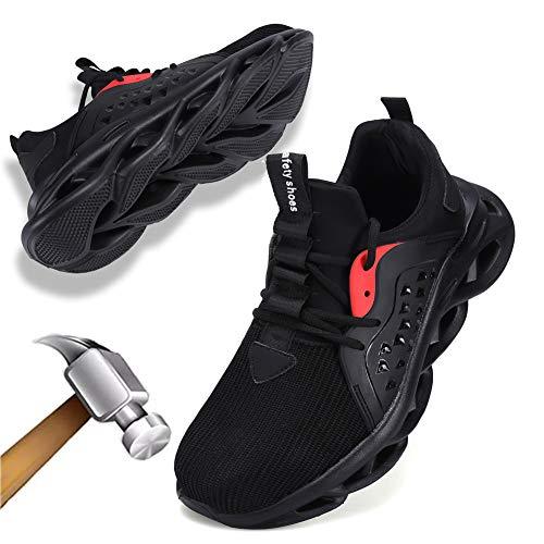 Scarpe Antinfortunistiche Uomo Donna Scarpe da Lavoro Protettive Traspiranti Industria e Edilizia Unisex(Nero,EU44)