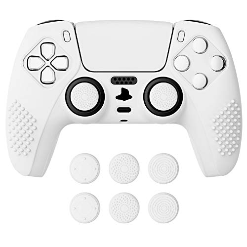 eXtremeRate PlayVital White 3D Studded Edition Anti-Slip Silicone...