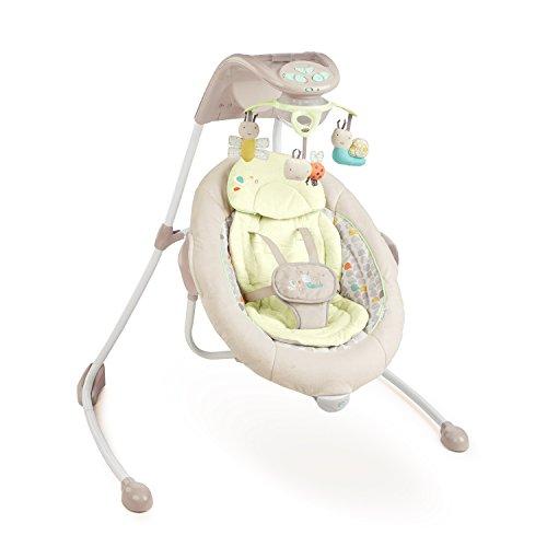 Bright Starts 60347 kuschelige Deluxe Babyschaukel mit drehbarem Sitz, MP3-Player elektronischem Mobile mit Lichteffekten 3 Plüschspielzeugen