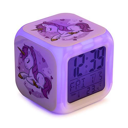 Unicornio Despertador infantil digital, reloj niños y niñas para dormir, con luces led de 7 colores,8 melodías de alarma. Con cable USB incluido. Pantalla LCD de tamaño cuadrado. 8x8x8 cm.