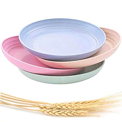 """Choary Lightweight &Unbreakable Wheat Straw Plates 7.87""""4 Pack, Non-Toxin Healthy Eco-Friendly Degradable Dishes, BPA free plates,Dishwasher Microwave Safe Plates,Reusable Plate for Fruit Snack."""