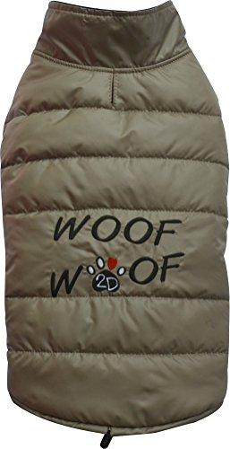 DoggyDolly W379 Hundemantel / Hundejacke WOOFWOOF cappuccino (M- Brust 41-43 cm Rücken 28-30 cm)