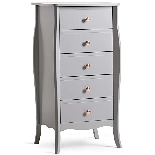 Commode étroite grise à 5 tiroirs Beautify - Commode haute organisatrice unité de stockage - meuble pour chambre à coucher ou salle à manger - style rétro avec poignées en or rose