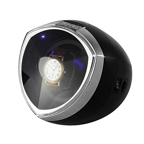 ZHANGYH Agitador de reloj mecánico único automático enrollador de reloj, con control de temporizador inteligente, caja de bobinado, iluminación LED, motor silencioso, 4 modos de rotación (color negro)