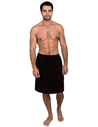 TowelSelections Toalla envolvente para hombre, ducha y baño, de rizo, con botones, hecho en Turquía -  negro -