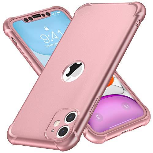 ORETECH Funda Compatible con iPhone 11, con 2 x Protector de Pantalla de Vidrio Cristal Templado Carcasa para iPhone 11 Silicona Ligera Delgado PC TPU Bumper Rubber Caso para iPhone 11 Oro Rosa 6.1