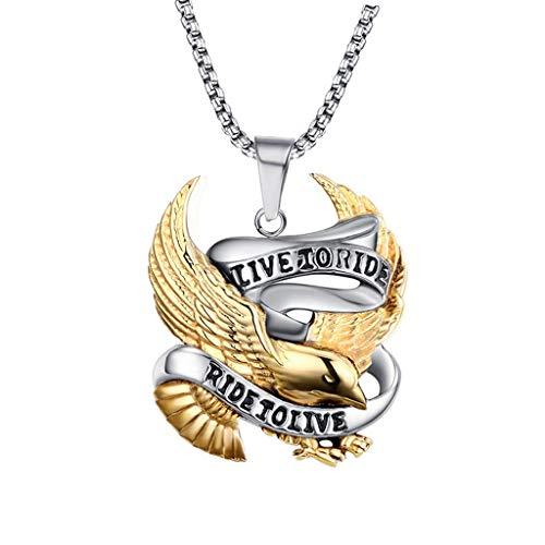 Sharplace Collar Colgante de águila, Oro, Plata Y Acero Inoxidable con Cadena de 60 Cm