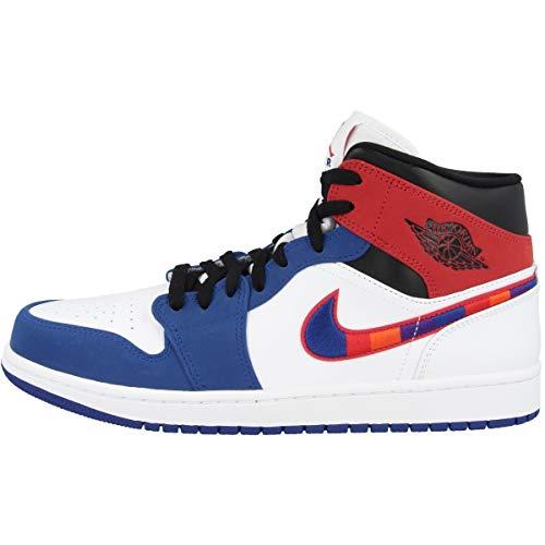 Nike Air Jordan 1 Mid SE, Scarpe da Basket Uomo, White/Univ Red/Rush Blue/Black, 41 EU