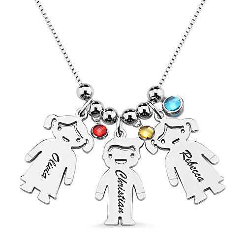 Collar con Nombre Personalizado 1 a 3 Nombre Grabado Niños Colgante Madre e Hija Collar Regalo para San Valentín día de la Madre (2 niño)