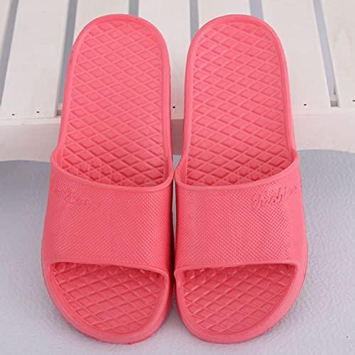 Ririhong Zapatillas Mujer Verano hogar Antideslizante Desodorante Hotel Chanclas Hombres Interior Suave Fondo Ligero baño Lazy drag-34-35_red1