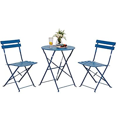 Grand patio 3pc Metal Folding Bistro Set, 2 Chairs and 1 Table, Weather-Resistant Outdoor/Indoor Conversation Set for Patio, Yard, Garden (Peacock Blue)