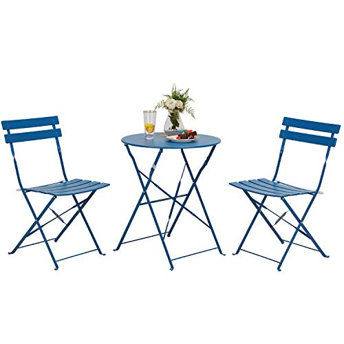 Grand patio Garden Bistro Set, 2 Chairs and 1 Table, Premium Steel, Easy to Fold, Folding Table Chairs for Balcony,Yard, Garden (Peacock Blue