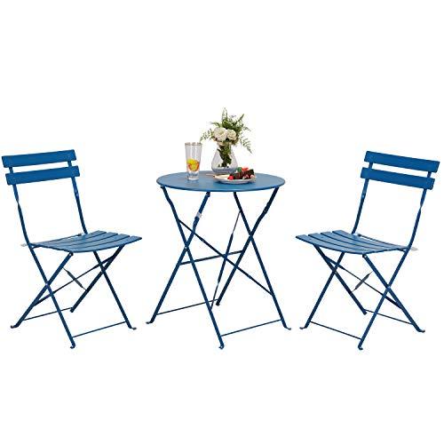Grand patio 3pc Metall Falten Bistro-Set, 2 Stühle und 1 Tisch,Wetterresistent Draußen drinnen Gesprächsset für Patio,Hof,Garten (Pfauenblau)
