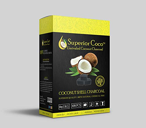 Superior Coco Charcoal 1kg 108 Piece Flats