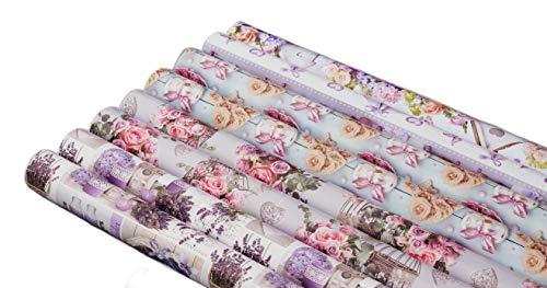 artwelten Home & Style Edles Geburtstags Geschenkpapier Set mit Herzen und Blumen - 8 Rollen Geschenkverpackung zum Geburtstag oder auch für Hochzeiten