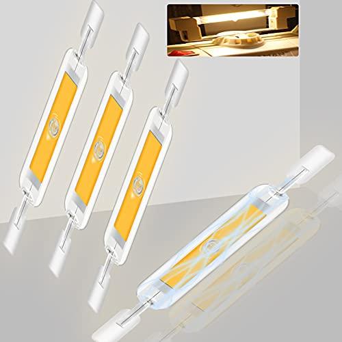 4 x R7S LED 78MM J78 Bombilla LED R7S 2800K Blanca Cálida Lámparas 6W Equivalente a 50W Halógeno LED Bajo Consumo Tomosu R7S LED COB Lineal Slim 600 LM 360 Grados para Pasillos y Lámparas de Pared