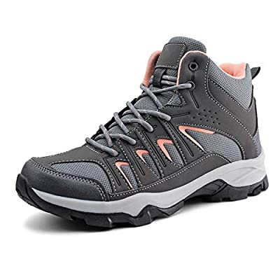 JABASIC Womens Mid Hiking Boots Lightweight Waterproof Outdoor Trekking Shoes (9,Grey/Pink)