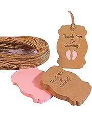 50 قطعة من العلامات الورقية لحوض استحمام الطفل مكتوب عليها Thank You for Coming Baby Feet Pink Tag لفتاة حفلة DIY هدية
