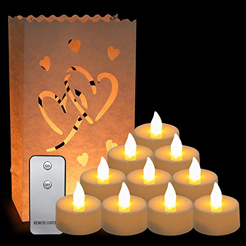 CALISTOUK 20 Pack LED Tealight Candles Set, 10Pcs Antiflaming Luminaries Bag LED Candle Paper Bags, 10Pcs/Box LED Flameless Candles with Remote Control for Wedding Party Decor Outdoor Evening Event