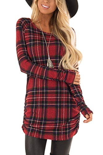 Women Flannel Plaid Shirt Dresses Long Sleeve Slim Fit Casual Ruched Christmas Plaid Tunic with Legging XL