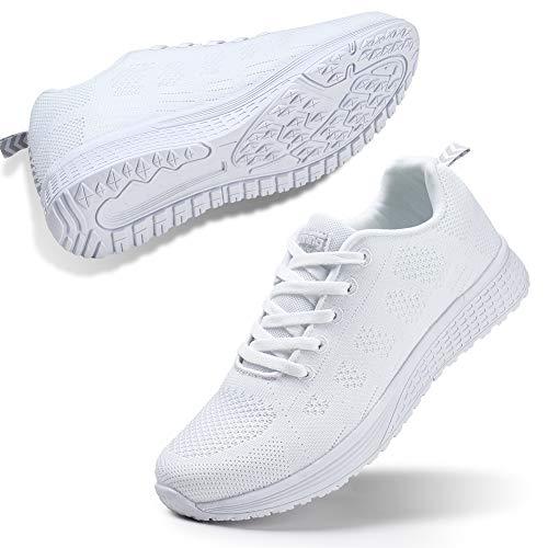 STQ Damen Laufschuhe Freizeit Walking Schuhe Mesh Atmungsaktiv Fitness Schuhe Outdoor Sportshuhe Alles Weiß EU39