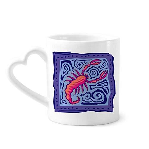 DIYthinker Konstellation Skorpion Mexicon Kultur Gravieren Kaffeetasse Keramik Keramik-Schale mit Herzen Griff 12 Unzen Geschenk Mehrfarbig