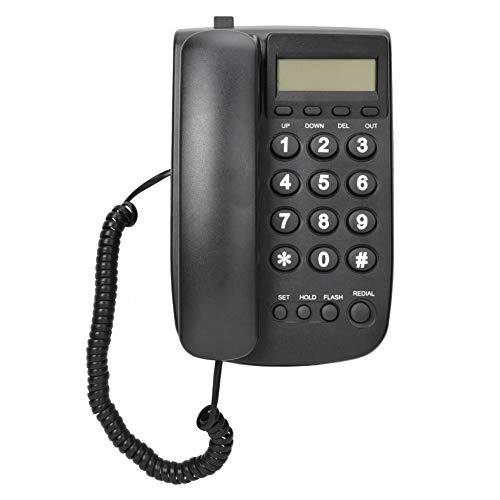 Telefono con filo Bewinner, telefono fisso con segreteria telefonica, telefono da parete da tavolo per casa / hotel / ufficio con identificazione automatica del doppio sistema FSK / DTMF (nero)