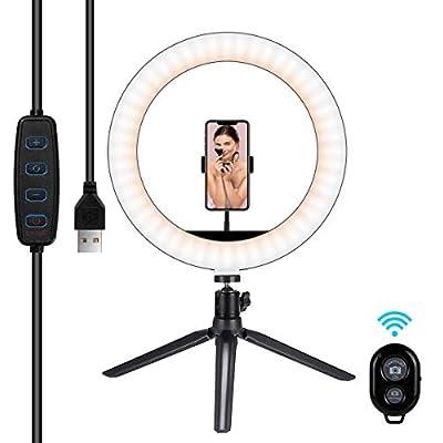 "Hiapix Selfie Ring Light, 10"" Dimmable Desk..."